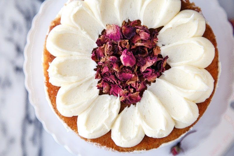 Mini Layer Cake for Two with Rose and White Chocolate
