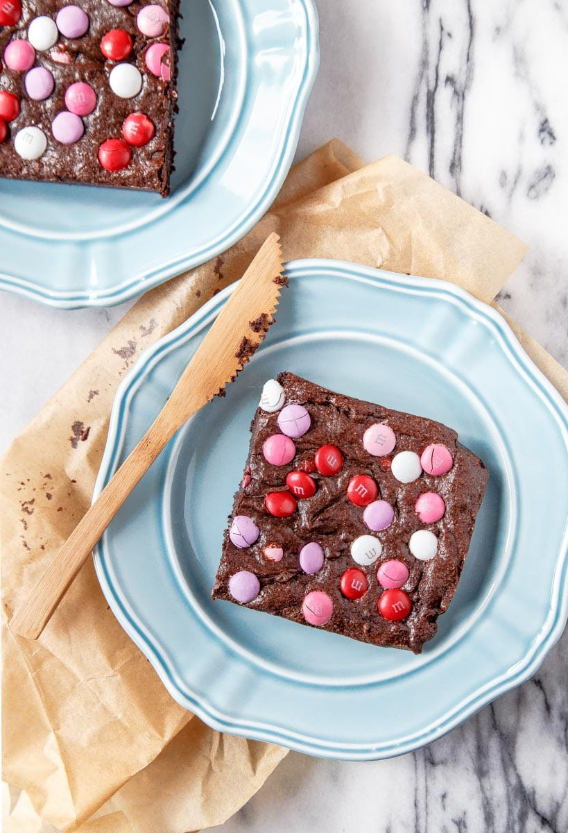 Valentine's Dessert: M&M brownies for two.