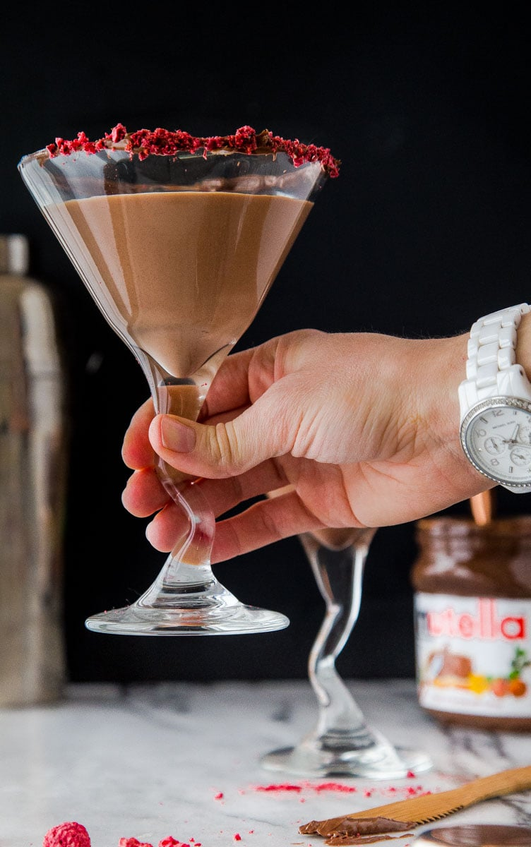 Chocolate Martini with Raspberry and Nutella