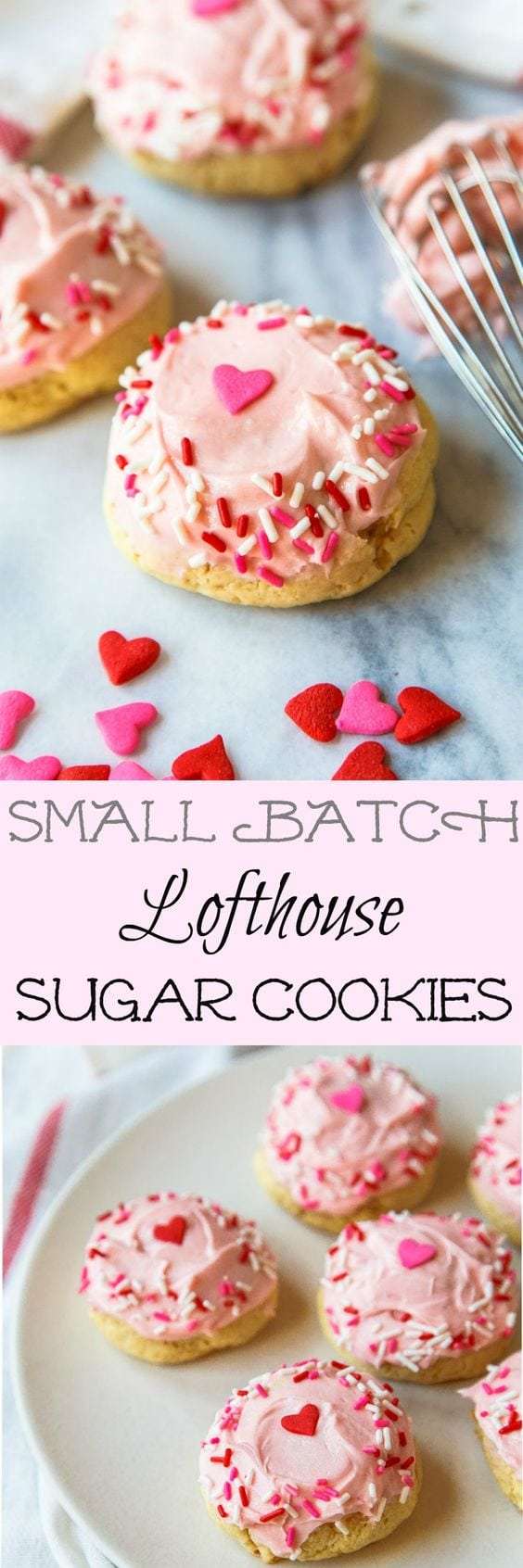Lofthouse sugar cookies recipe: a small batch of the copycat grocery store sugar cookies with colorful frosting and sprinkles.
