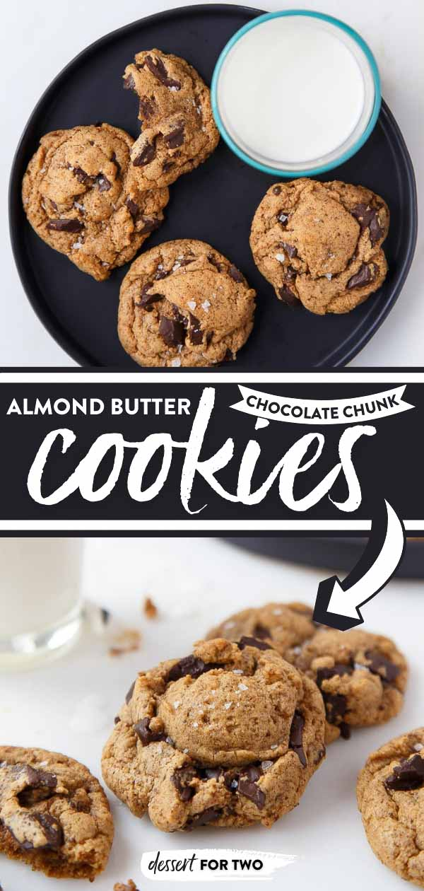 Almond butter chocolate chip cookies on black plate.