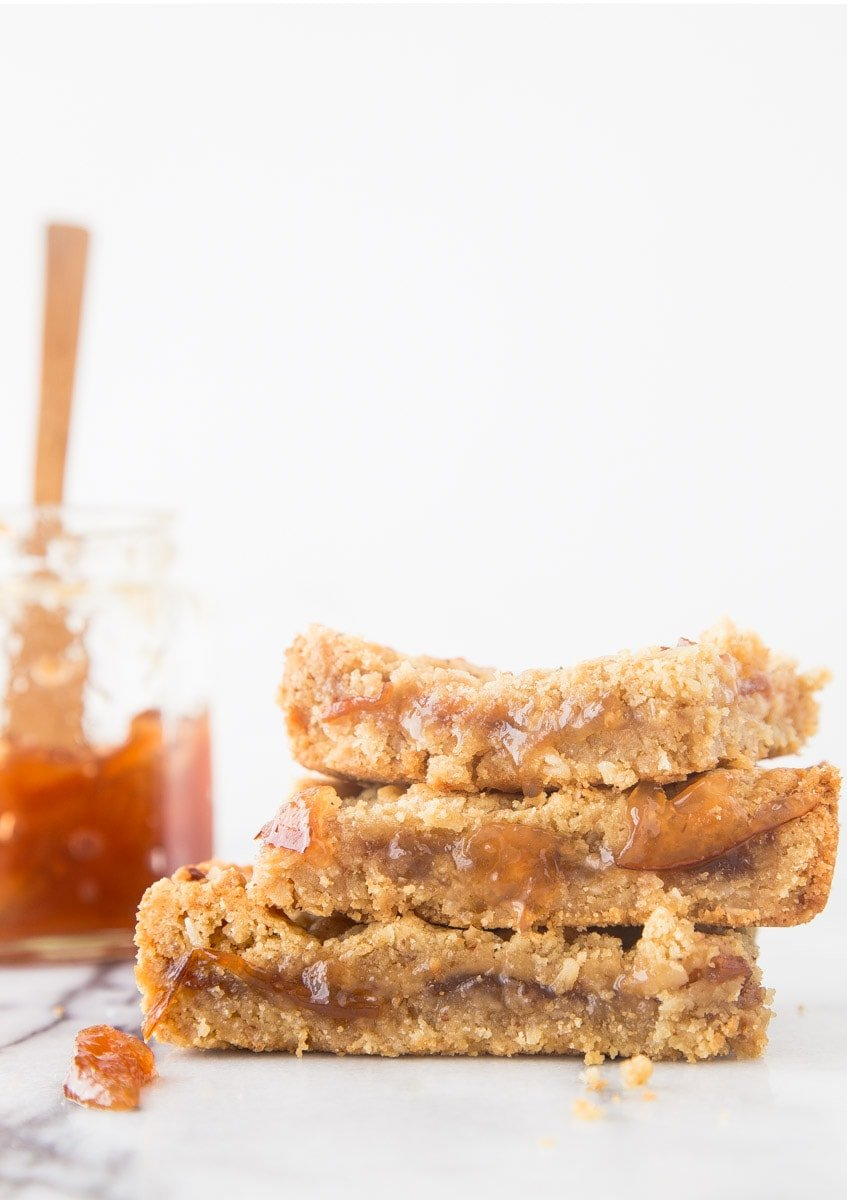 Peach Jam Bars with a Buttery Almond Meal Crust
