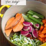 Baby Food: Curried Sweet Potato Barley Coconut Puree + No-Salt Vegetable Broth