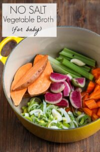 Baby Food: Curried Sweet Potato Barley Coconut Puree + No-Salt Vegetable Broth