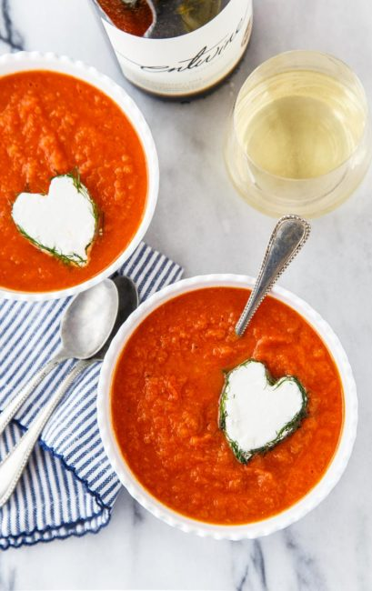 Tomato Fennel Soup with Goat Cheese Hearts