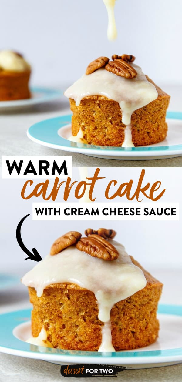 Warm carrot cakes in ramekins with cream cheese sauce drizzled on top.