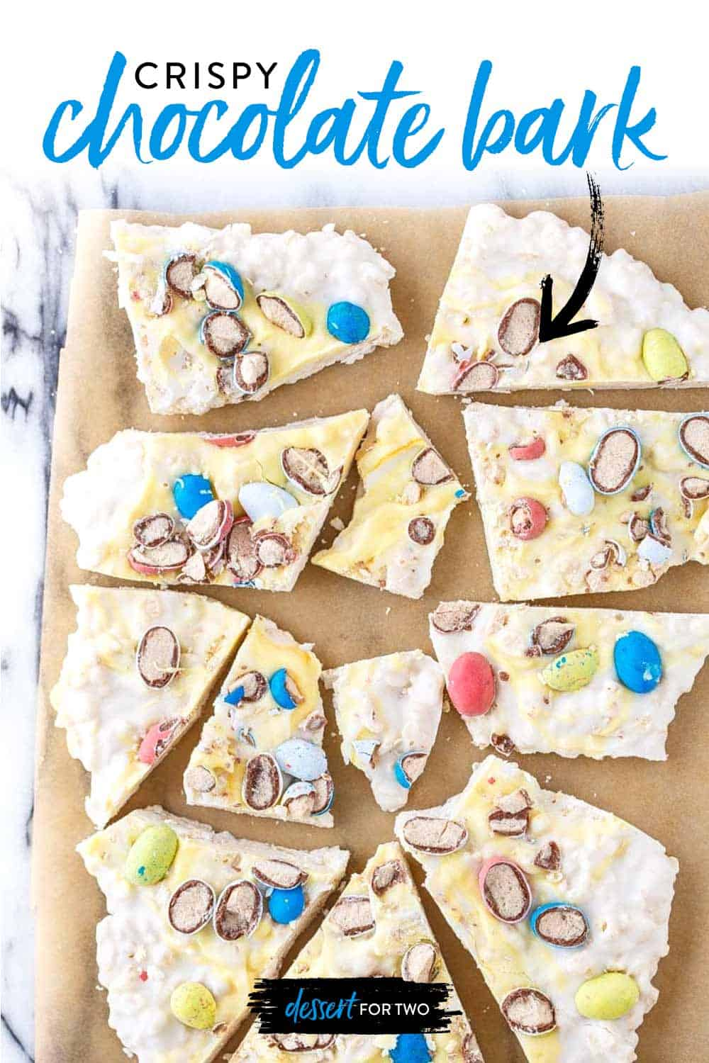 white chocolate bark with robin's eggs candy on top.