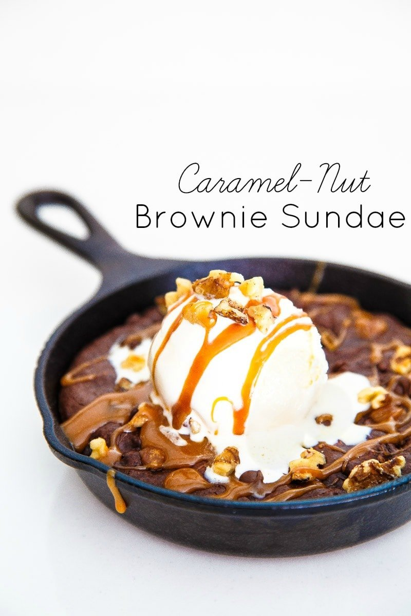 caramel brownies with nuts in a cast iron skillet brownies