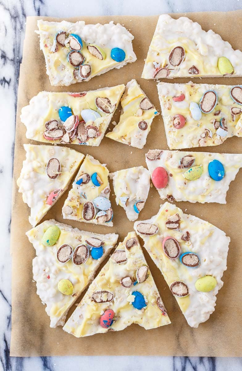 Crispy Easter Bark with rice crispies and robin eggs