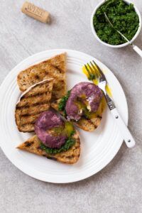 Kale on Toast with Red Wine Poached Eggs