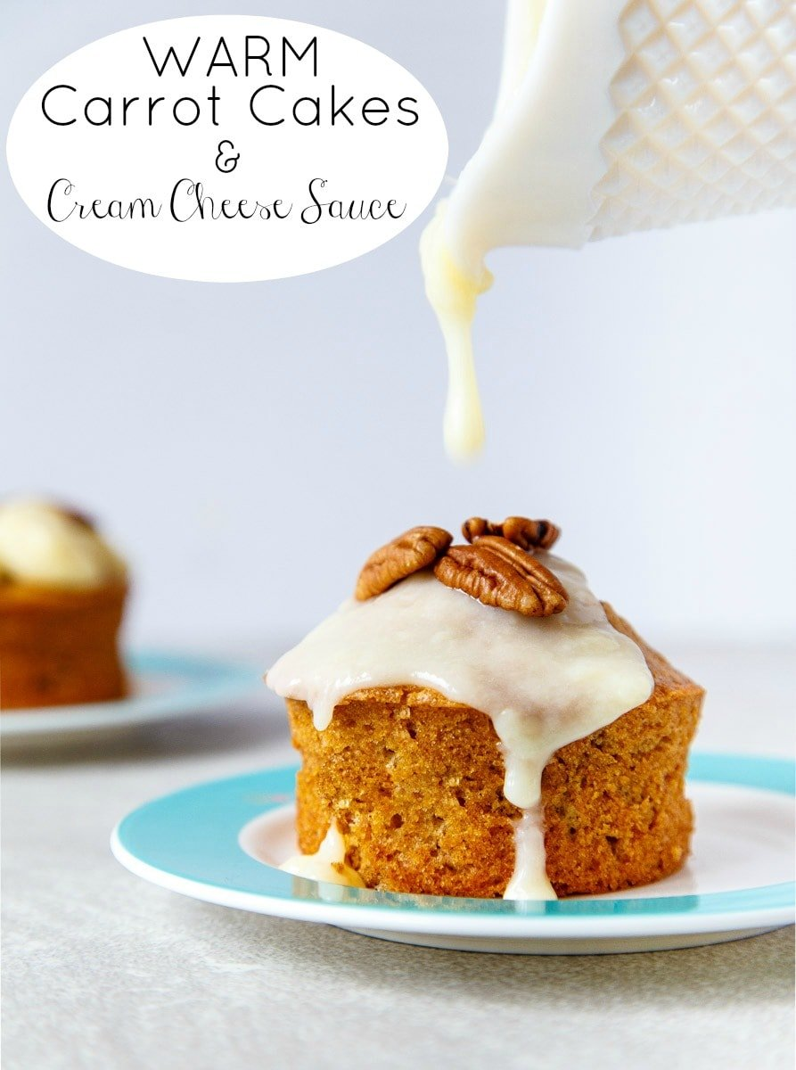Mini Carrot Cakes for Two with Warm Cream Cheese Sauce @DessertForTwo