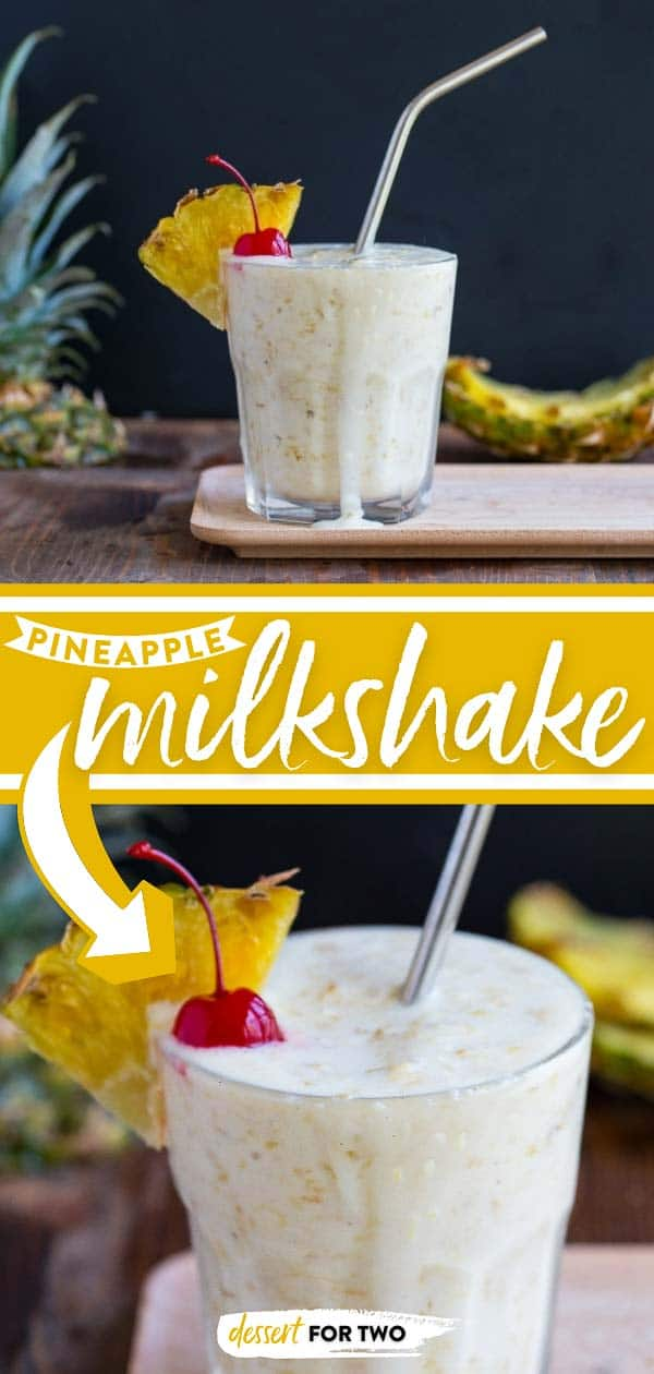 Fresh pineapple milkshake with coconut sorbet, rum, and a cherry on top! Made with grilled pineapple or roasted pineapple. #pineapplemilkshake #grilledpineapple #roastedpineapple #freshpineapple #pineappledessert #boozymilkshake #milkshake