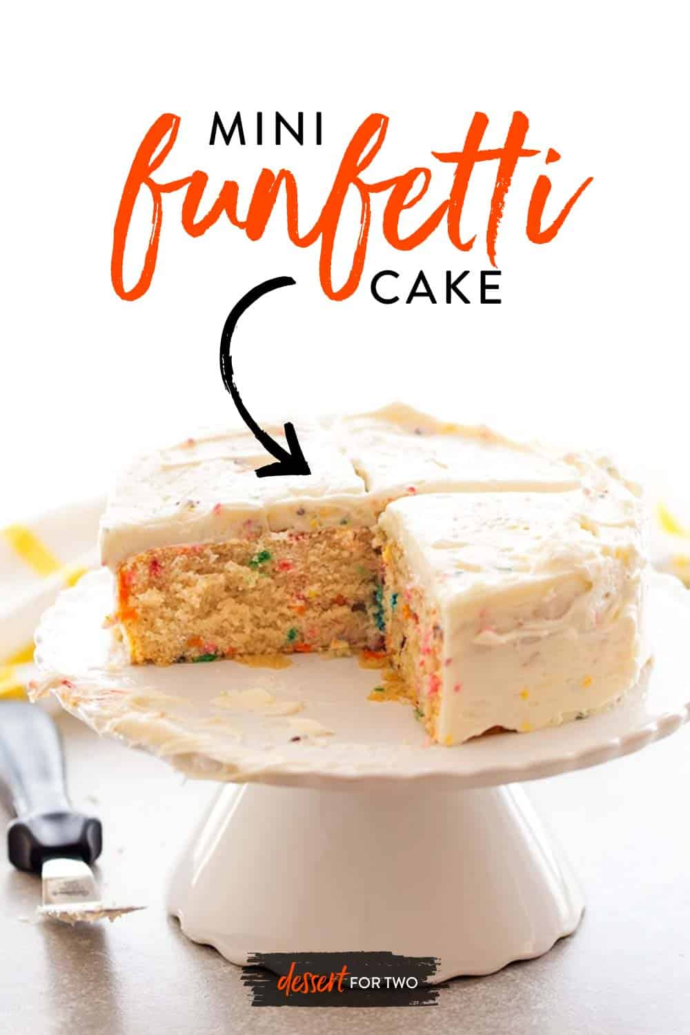 Homemade funfetti cake for two. Mini funfetti cake with sprinkles is so fun for a small cake idea! Small cake recipes and mini cake recipes are so fun!