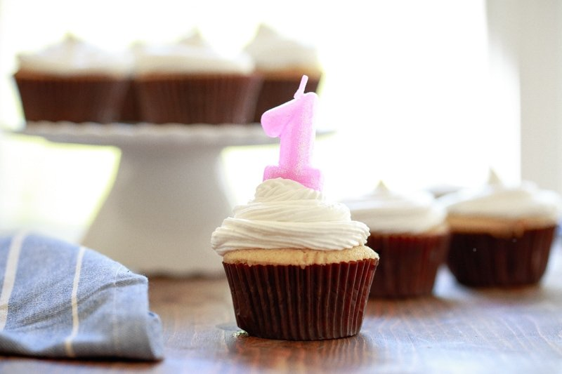 Baby's first birthday cake is naturally sweetened with maple syrup and coconut whipped cream @dessertfortwo