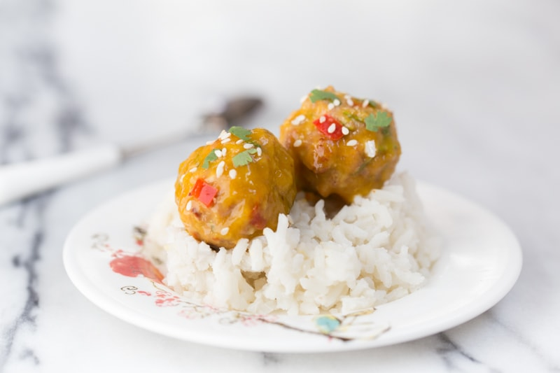 baby meatballs with mango glaze