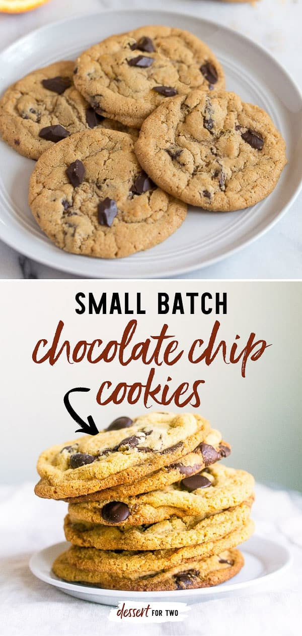Small batch chocolate chip cookies for two! A half batch chocolate chip cookies recipe that is absolute perfection! #chocolatechipcookies #smallbatch #smallbatchcookies #chocolatechip #cookies #cookiesfortwo