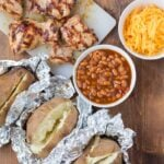 Stuffed Baked Potatoes: Barbecued Chicken Stuffed Potatoes with Baked Beans