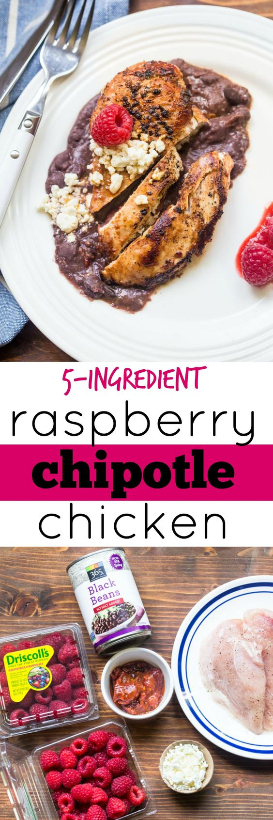 Raspberry chipotle chicken dinner for two! Easy, 5-ingredient raspberry chipotle sauce over chicken with creamy black beans and feta. A new chicken dinner you weren't expecting!