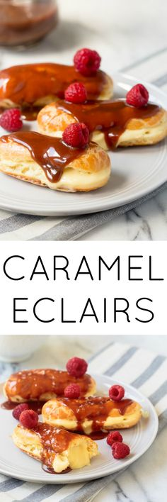 Caramel Eclair recipe featuring a salted caramel eclair glaze, filled with a small recipe for pastry cream. #carameleclair #saltedcaramel #caramel #carameleclairs #carameleclairglaze
