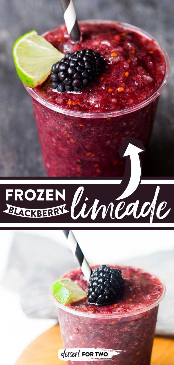 Blackberry limeade or blackberry lemonade, your choice! Always choose frozen, though! #blackberry #blackberrydrink #blackberrylemonade #blackberrylimeade #limeade #lemonade