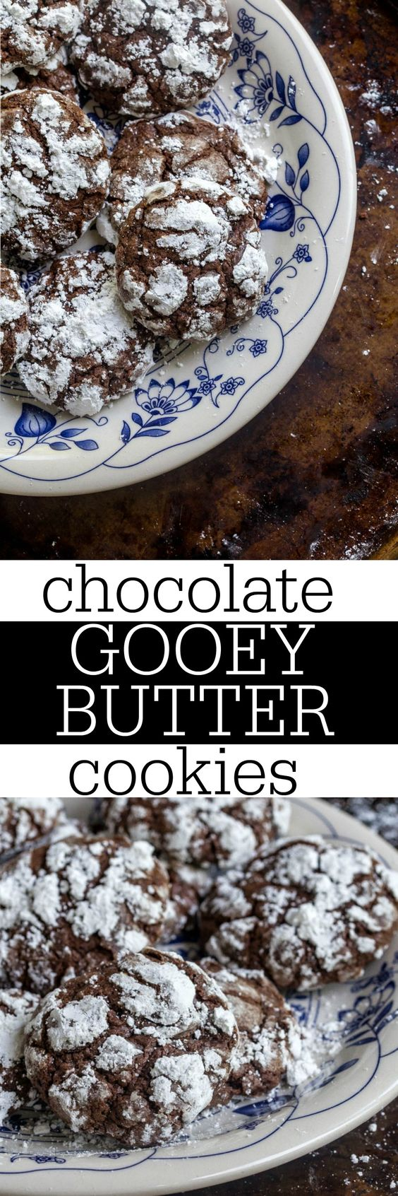 Chocolate gooey butter cookies for Christmas! Like regular ooey gooey butter cookies, but made with chocolate! This cream cheese rich dough doesn't rely on cake mix. Totally made from scratch! #gooeybutter #gooeybuttercake #gooeybuttercookies #creamcheese #creamcheesecookies #ooeygooey #pauladeen #christmasdessert #christmascookies #chocolate #chocolatecookies #smallbatch #cookies