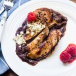 Raspberry Chipotle Chicken Dinner: 5 ingredients to this easy, healthy dinner! @DessertForTwo