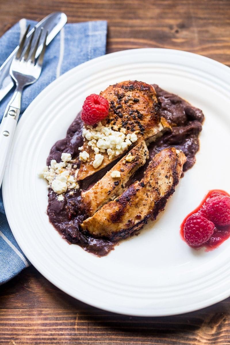 Raspberry Chipotle Chicken Dinner: 5 ingredients to this easy, healthy dinner! @DessertForTwo