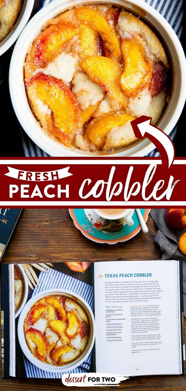 Peach cobbler made with fresh peaches, Southern Style! This peach cobbler for two recipe is Texas-style with a thin batter, you've got to try it!