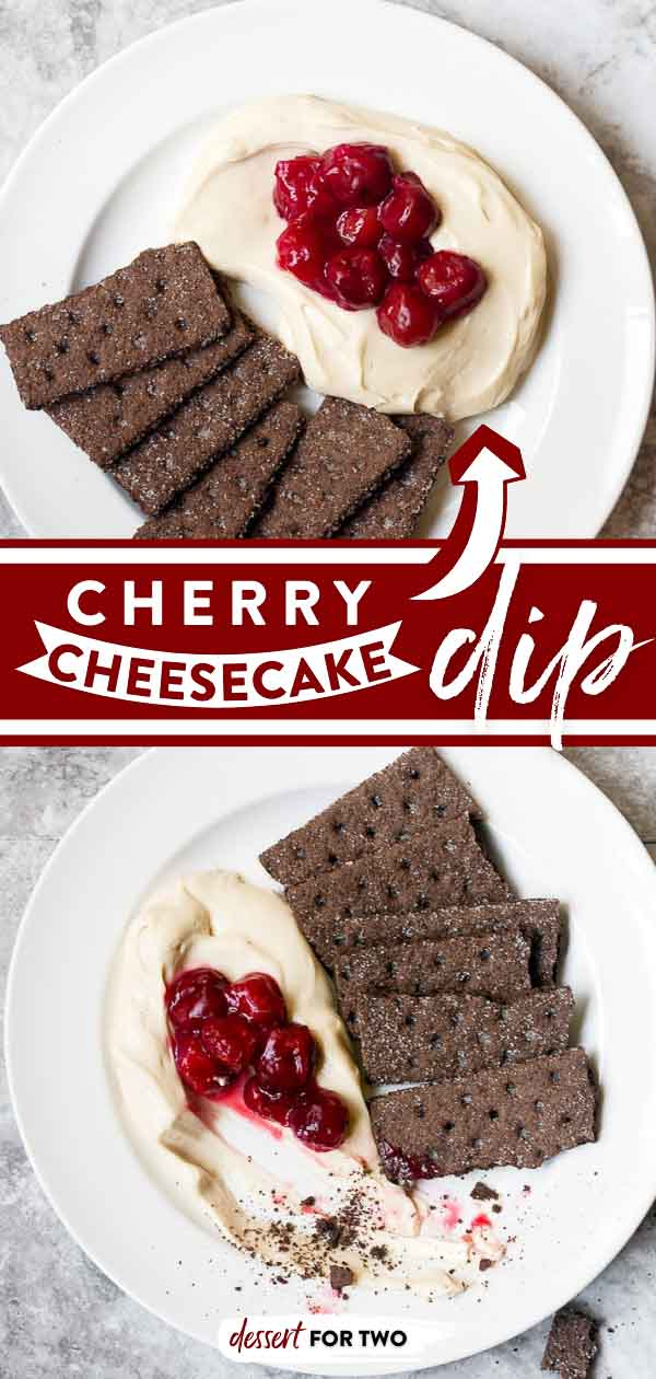 Cherry cheesecake dip for two. This easy cherry cheesecake dip recipe tastes just like a slice of your favorite classic cheesecake with cherries on top, but it so much easier to make than a full size cheesecake. Serve it with chocolate graham crackers for your next date night in dessert for two people. #cheesecake #cheesecakedip #dessertdip #cherry #cherries