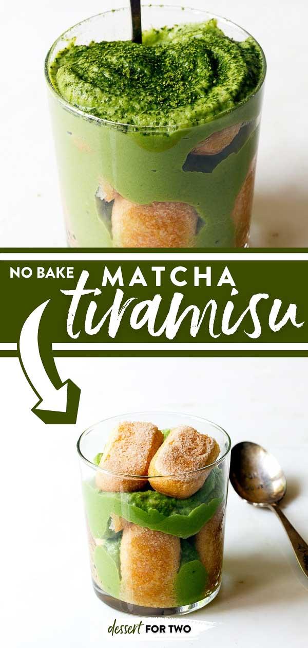Matcha Tiramisu for Two. Matcha Tea Tiramisu made just for two. Small batch tiramisu using matcha tea powder. #matcha #matchadessert #tiramisu #fortwo #smallbatch #dessertfortwo #matchapowder