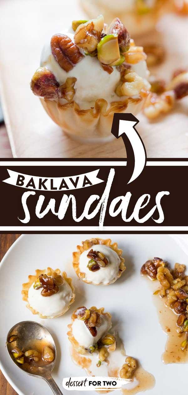 Baklava Ice Cream Sundaes with Crisp Phyllo Cups, Vanilla Ice Cream and a Honey Nut Sauce with Orange Blossom. #baklava #icecreamsundae #phyllo #minidessert #twobitedessert