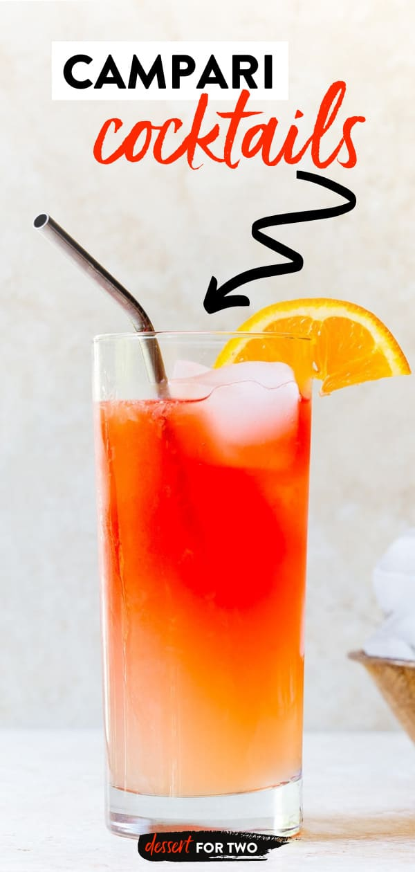 Campari lemonade layered in glass with straw.
