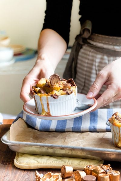 Chocolate Caramel Bread Pudding recipe that serves two. Dessert for Two