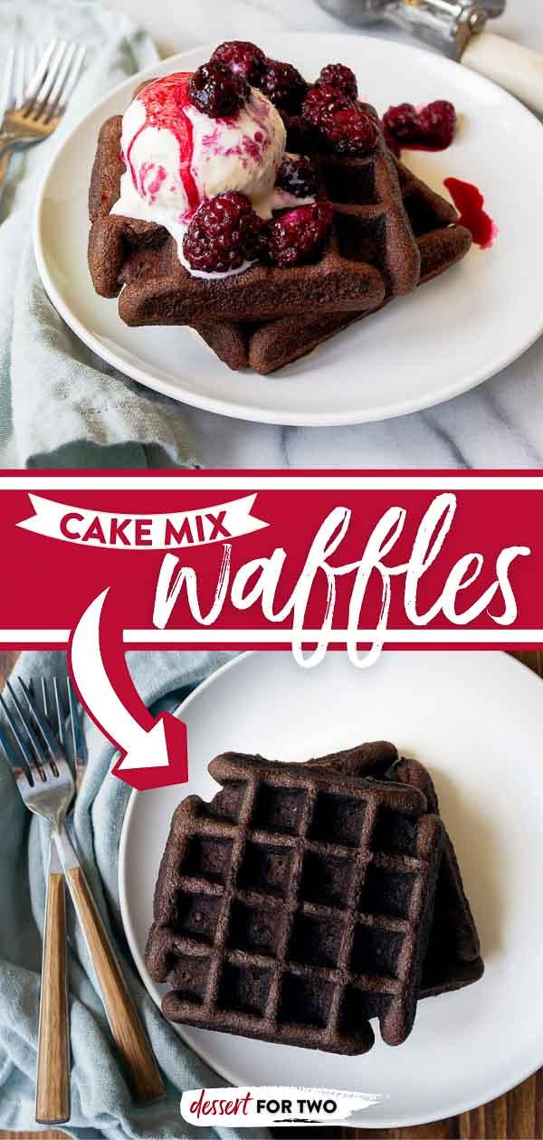 Cake mix waffles made with a chocolate cake mix. Just 1 1/4 cup dry chocolate cake mix makes 4 perfect chocolate waffles!