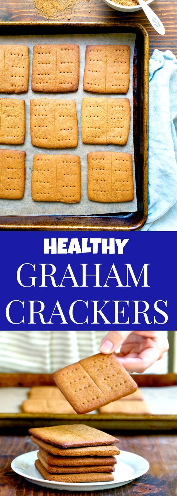 Healthy homemade graham crackers that are refined sugar free! Naturally sweetened with coconut sugar and honey, making them the perfect baby food for a teething baby.