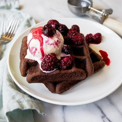 Chocolate cake mix recipe to make waffles! Recipe makes 4 waffles by Dessert for Two