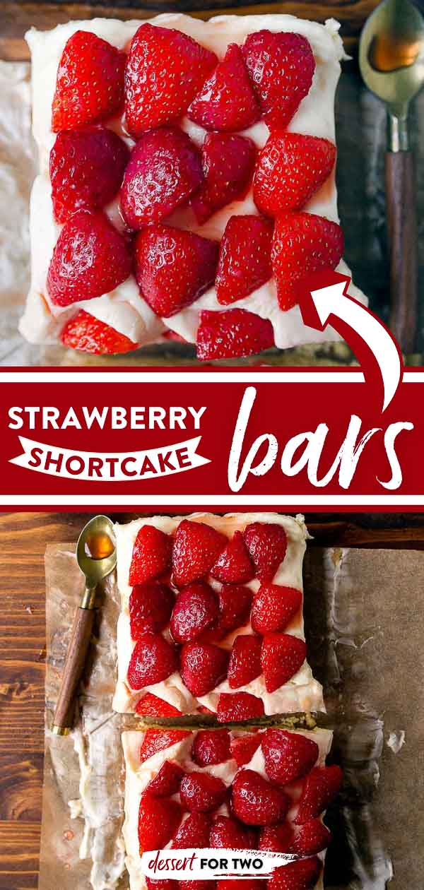 Strawberry shortcake bars recipe with an easy pat-in-the-pan shortbread crust. Topped with whipped cream cheese frosting and juicy marinated strawberries.