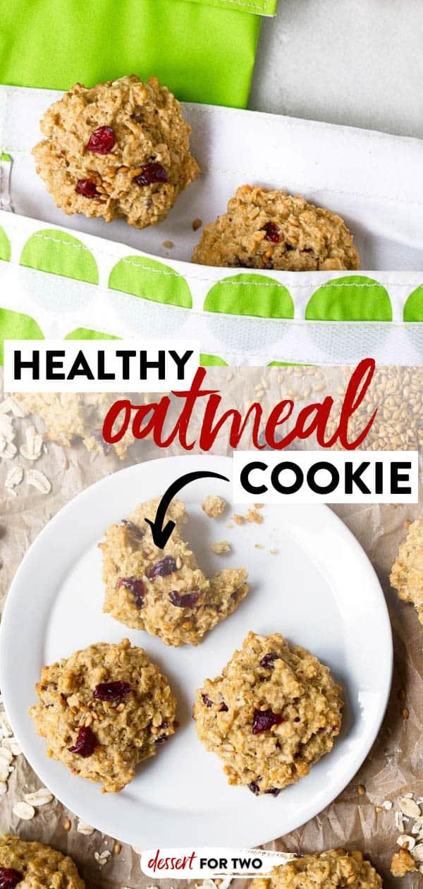 Honey sweetened oatmeal cookies on plate.