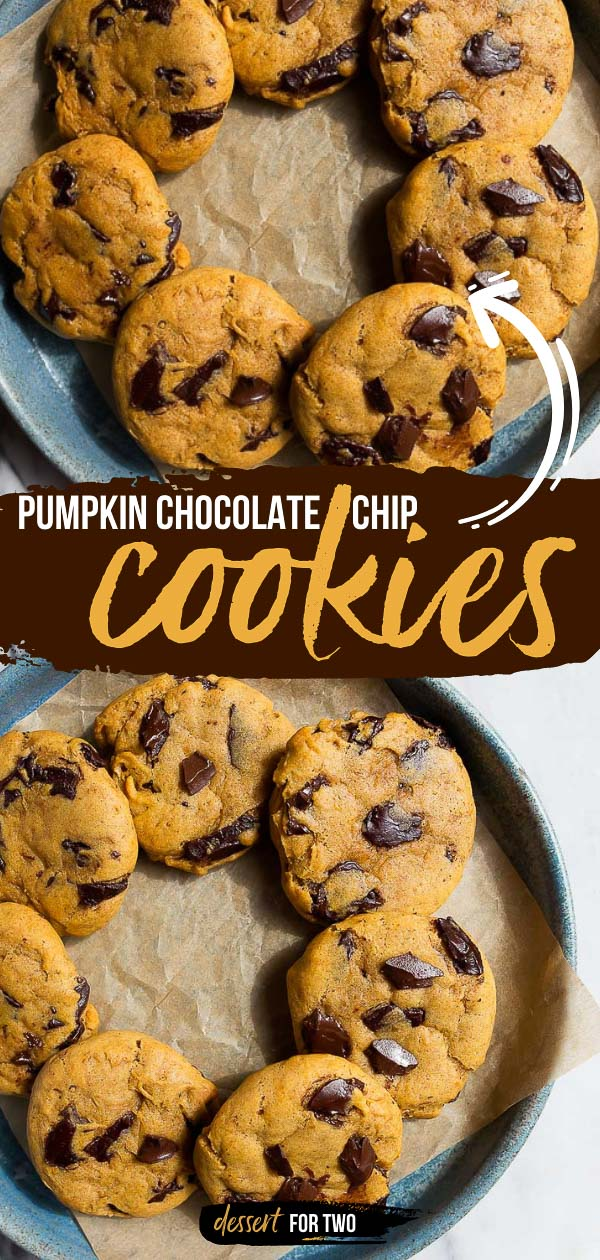 Pumpkin chocolatechip cookies, small batch for two. Recipe makes just 9 cookies!