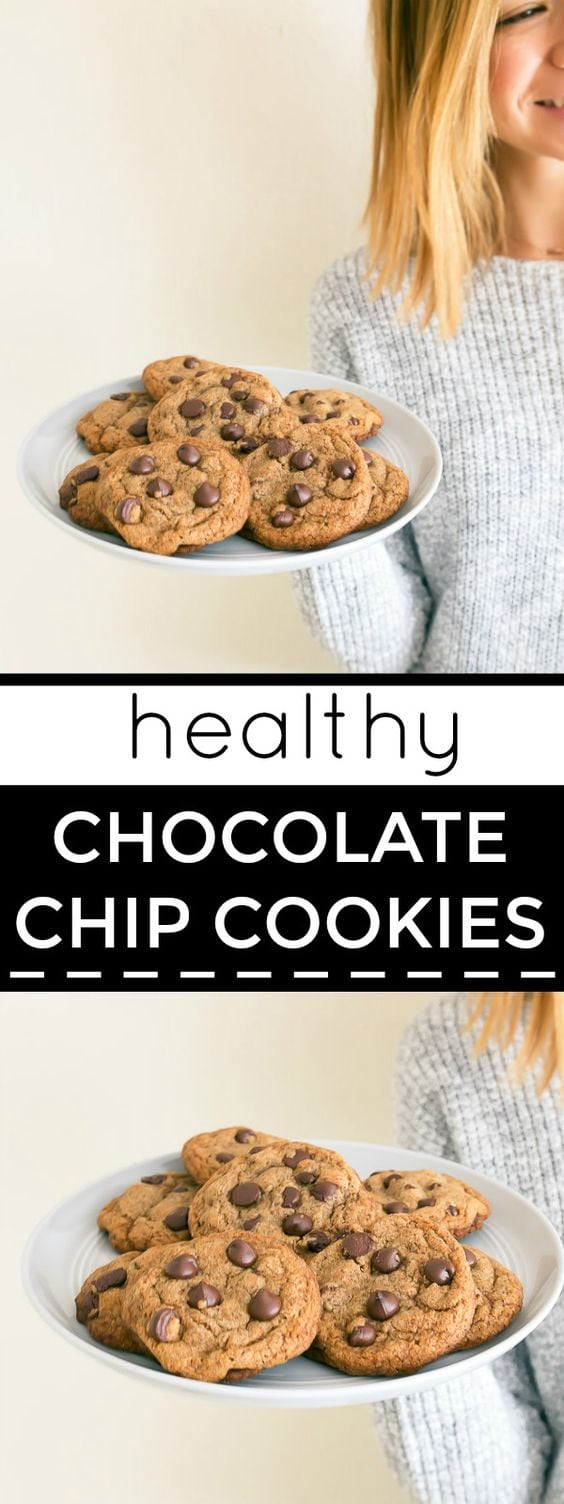 Coconut oil chocolate chip cookies naturally sweetened with coconut sugar and whole wheat flour. Healthy small batch chocolate chip cookies recipe. Recipe makes a half batch of cookies, 8 cookies