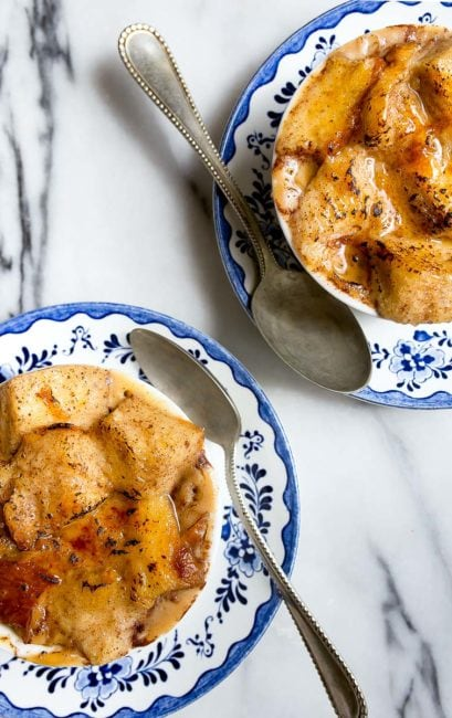 A small batch of bread pudding made for two in the crockpot or slow cooker