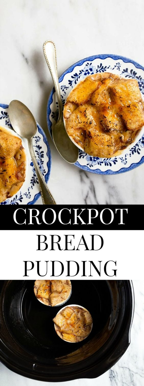 Crockpot bread pudding recipe made in ramekins to serve two. #slowcooker #crockpot #crockpotbreadpudding #slowcookerbreadpudding