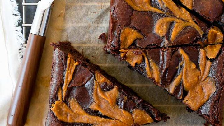 Pumpkin Swirl Brownies for two: brownies swirled with pumpkin cream cheese filling. Brownies made in a loaf pan that serve two!