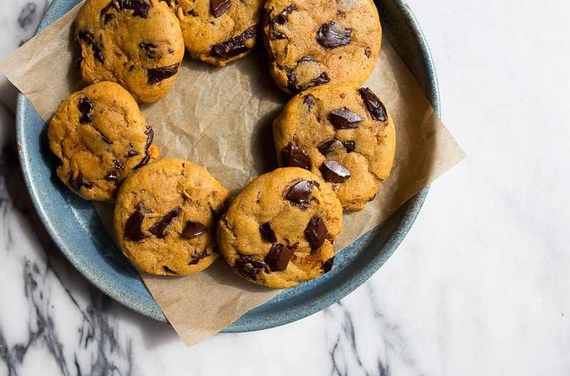 Small batch pumpkin chocolate cookies for two