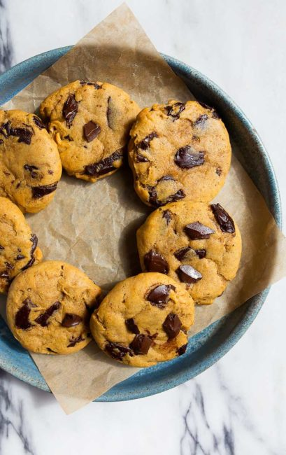 Pumpkin chocolate chip cookies recipe, small batch of cookies