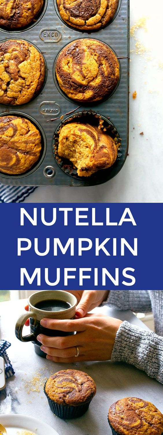 Pumpkin nutella muffins, small batch recipe! Recipe for 6 pumpkin muffins with Nutella swirl.