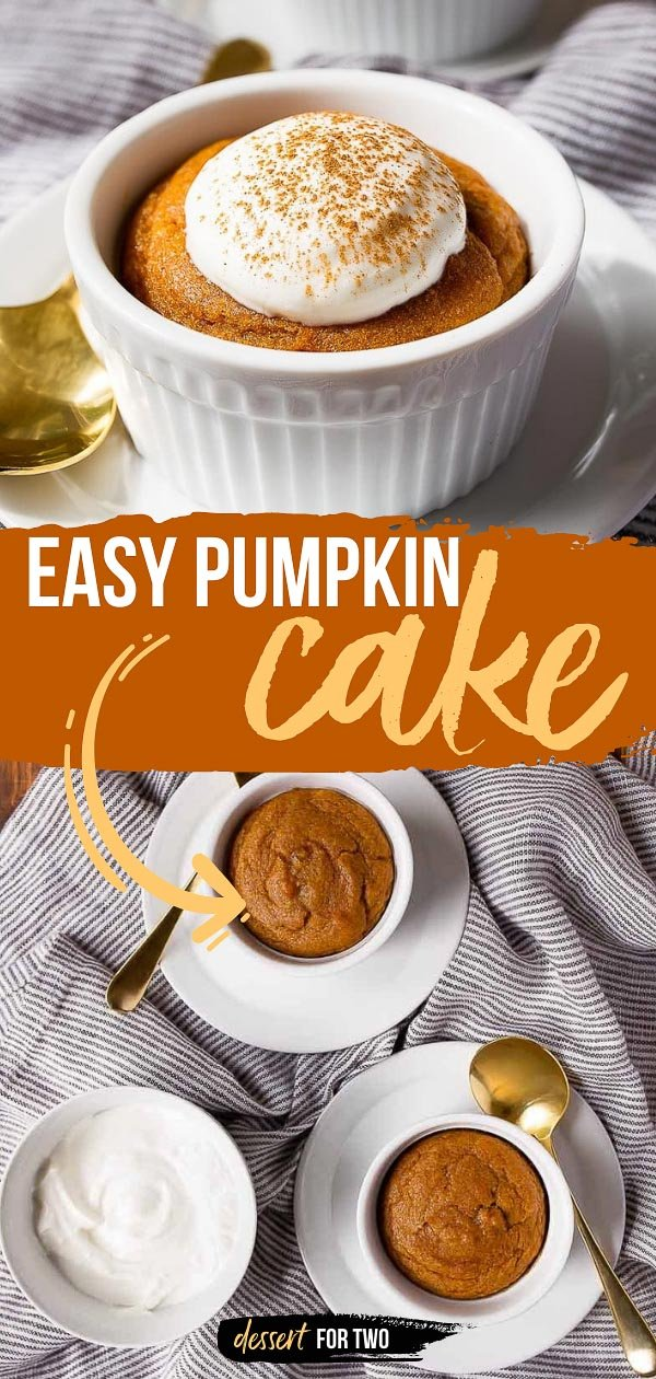 Mini pumpkin cakes made in ramekins. Great way to use up leftover pumpkin puree. Just uses 1/4 cup of pumpkin. Serves two--mini ramekin cakes. Cake for two!