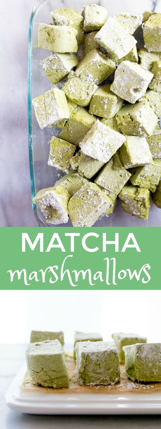 Matcha marshmallows: A small batch of homemade marshmallow recipe flavored with matcha tea powder. Recipe makes just 8 matcha marshmallows in a bread loaf pan.