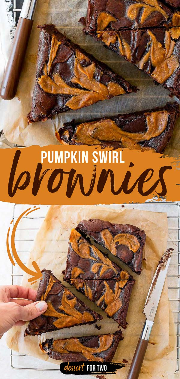 Pumpkin Swirl Brownies for Two. Brownies for two made in a loaf pan, swirled with real pumpkin puree and pumpkin pie spice! #brownies #browniesfortwo #loafpan #loafpanbrownies #pumpkin #pumpkinspice #psl #pumpkinbrownies #pumpkinswirl
