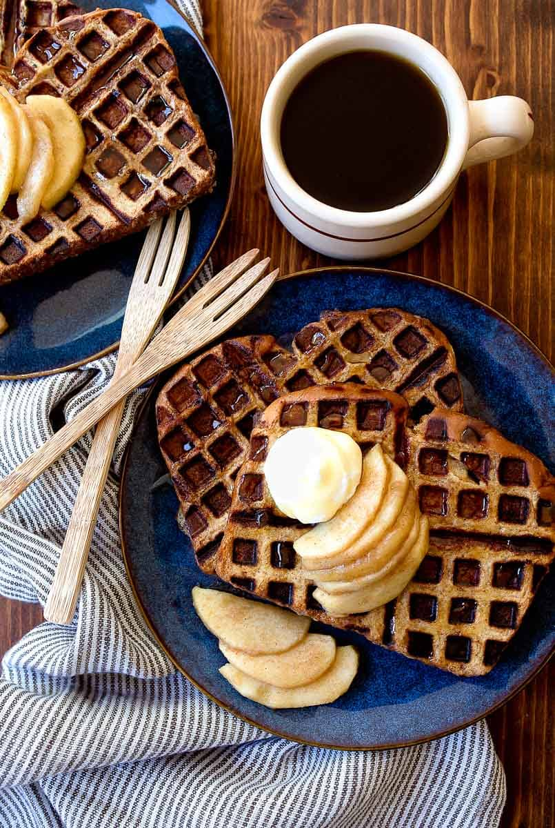 Apple Pie French Toast Waffles. French toast made in the waffle iron!